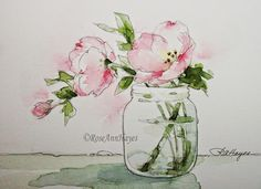 Watercolor by RoseAnn Hayes: Pink Evening Primrose Sept 1, 2013 - pink is Sennelia (sp) Carmine