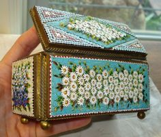 Antique Micro Mosaic Venice Italian Jewelry Trinket Box Glass Daisy Rose Violet