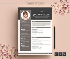 Currículum Modern Resume Template + Free Cover Letter for Word   AI   PSD   DIY Printable 3 Pack   The Julianna   Professional and Creative Design