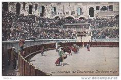 Bull fighting in arena, horseback riders poking bulls, Courses de Taureaux, Une bonne pique, France, 00-10s - Delcampe.net