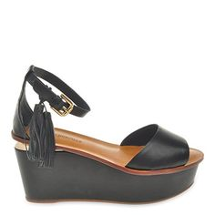 798142bccb7 Roberto Durville Paris Acima Womens Black Leather Wedge Sandals 36 M EU      For