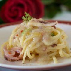 Linguine con crema di finocchio calamari e peperoncino Calamari, Italian Pasta, Linguine, Spaghetti, Menu, Ethnic Recipes, Hotels, Food, Cooking