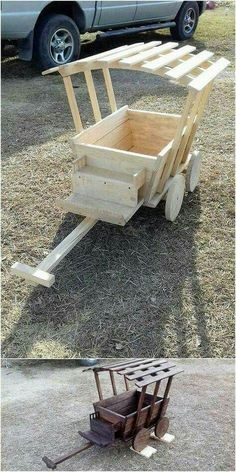This is another unique but some sort of interesting creation of the used shipping wood pallets for your house. This creation shows the best brilliance into it by showing off the wheel barrow design effect that is used at the best for the garden decoration Pallet Crafts, Diy Pallet Projects, Woodworking Projects Diy, Wood Crafts, Woodworking Tools, Woodworking Techniques, Woodworking Furniture, Diy Crafts, Woodworking Workshop
