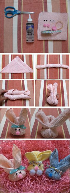 DIY Washcloth Easter Bunnies [Tutorial] : washcloth + googly eyes + ribbon + pom poms... includes a pocket for putting an Easter egg filled with candies!