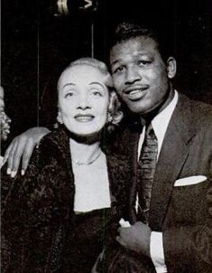 Boxing legend Sugar Ray Robinson with screen legend Marlene Dietrich.