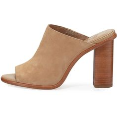 Joie Clementine Suede Chunky-Heel Mule Sandal (€285) ❤ liked on Polyvore featuring shoes, sandals, slip on sandals, mule sandals, high heel sandals, open-toe mules and suede shoes