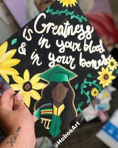by @hobosart Custom Graduation Caps, Graduation Cap Designs, Graduation Diy, Grad Cap, Grad Pictures, College Graduation Pictures, Grad Pics, Cap Ideas, Colorful Wall Art