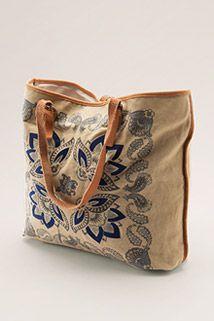 Esprit / Bavlněná nákupní taška s koženými uchy