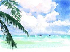 Tropical Watercolor Caribbean Exotic Coast Seascape Scenic Ocean Beach Hand Painted Illustration Stock Illustration - Illustration of lifestyle, background: 89616546 Watercolor Ocean, Watercolor Landscape, Watercolour Art, Beach Illustration, Watercolor Illustration, Seascape Paintings, Landscape Paintings, Watercolor Paintings For Beginners, Strand