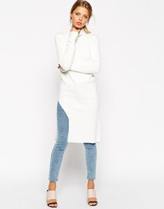 Enlarge ASOS Tunic In Structured Knit With Turtleneck & Side Split