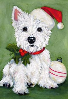 Good Dog Jack Westie ACEO Dog Artist Trading Card West Highland Terrier WESTIE PRINT Painting Happy Birthday!