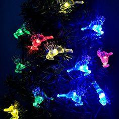 deer Solar String Lights 40 LED deer Christmas Decoration Lights with Light Sensor 197ft For Homes Outdoor Garden Holiday Party Weddingsolder deer Multi color ** You can find more details by visiting the image link.