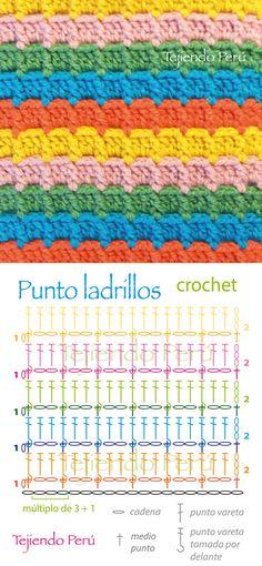 Crochet: punto ladrillos (diagrama o patrón) Pusimos el enlace al video tutorial de cómo hacer la vareta tomada por delante ༺✿ƬⱤღ  https://www.pinterest.com/teretegui/✿༻                                                                                                                                                                                 Más