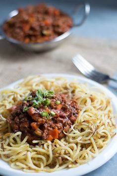 Sweet Potato Noodles and Bacon & Beef Bolognese (gluten free, grain free & dairy free!) Paleo, too. This bolognese is made with ground beef AND bacon, yum!