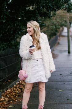 White Faux Fur Coat | White Denim Skirt | Pearls & Twirls Life & Style Blog