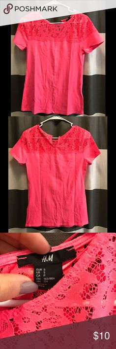 H&M Bright Coral Lace Top T Amazing color ! Super cute great condition t from h&m with beautiful lace around too. Cute small button closure in back. Stretchy material. H&M Tops Tees - Short Sleeve
