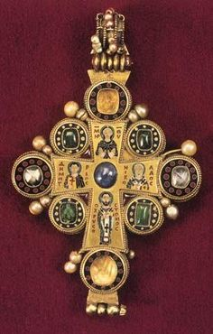 "Byzantine-style gold cross.  From ""Byzantine Art"" Facebook page."