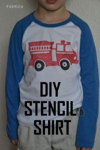 DIY Stenciled Firetruck Birthday T-Shirt Made by FabRita