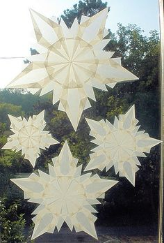 4 White Snowflake Stars for Winter and Christmas Decorations by Harvest Moon by Hand.