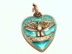 Vintage Sterling Silver Enamel God Bless America Puffy Heart Charm