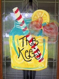 Lemonade Mason Jar Door Hanger by HillbillyHandcrafted on Etsy, $38.00