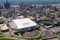 Detroit Skyline Aerial Stadiums Detroit Skyline, Detroit Sports, Detroit Michigan, Detroit Neighborhoods, Detroit Vs Everybody, Carol Doda, Sunrise, The Neighbourhood, Places To Visit