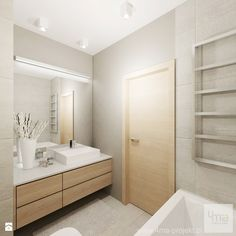 Colour scheme, light wood with grey wall tiles Narrow Bathroom, Bathroom Spa, Bathroom Toilets, Laundry In Bathroom, Grey Bathrooms, Bathroom Layout, White Bathroom, Bathroom Interior, Contemporary Bathrooms