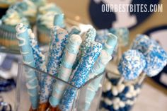 Blue and White Dipped Pretzel Rods | Our Best Bites