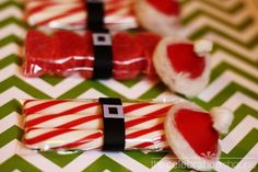 super cute Santa party favors! Maybe use a kiss as the hat. Santa can give them out