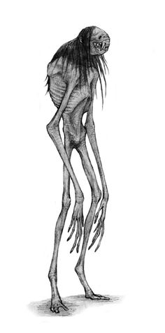 The Wendigo was gaunt to the point of emaciation, its desiccated skin pulled tautly over its bones. With its bones pushing out against its skin, its complexion the ash gray of death, and its eyes pushed back deep into their sockets, the Weendigo looked like a gaunt skeleton recently disinterred from the grave.
