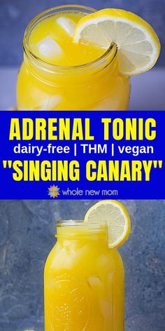 "Skip the Coffee and Candy and Get a Healthy Energy Boost instead with this Adrenal Cocktail -- My version of the ""Singing Canary"" Drink. It's LOADED with healthy ingredients like turmeric vitamin C and more. Fadiga Adrenal, Adrenal Health, Adrenal Fatigue Diet, Adrenal Glands, Chronic Fatigue, Adrenal Cocktail, Turmeric Vitamins, Homemade Alcohol, Weights"