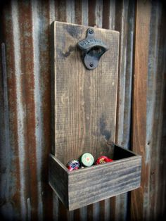 Beer Bottle Opener and Cap Catcher | Man Cave Ideas | 19 DIY Decor and Furniture Projects | Cool And Unique Projects by DIY Ready at http://diyready.com/man-cave-ideas-19-diy-decor-and-furniture-projects/