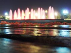 Victory Park, Moscow. The fountains are lit with red lights to symbolize the blood shed by Russia during World War II and other battles.