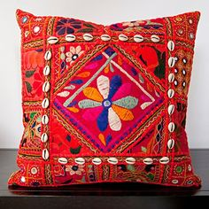 Siam Circus Calista Orange Embroidered 22-inch Decorative Down Pillow Siam Circus Decor