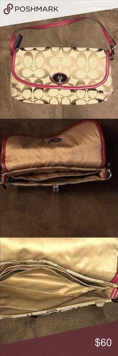 Coach Mini Purse New Coach purse - no tags. Never used - brown with burgundy trim. Coach Bags Mini Bags