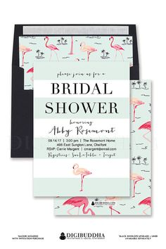 Pink Flamingo bridal shower invitation with mint aqua stripes and pink flamingo island tropical print.  Also available in flamingo wedding invitations with preppy flamingo envelope liners and black envelopes.  Only at digibuddha.com
