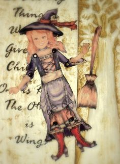 Jointed witch doll made from paper doll