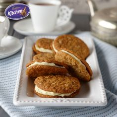 Cadbury ANZAC Biscuits with White Chocolate Ganache Recipe Recipe For Anzac Biscuits, Biscuit Recipe, Baking Recipes, Cookie Recipes, Dessert Recipes, Healthy Recipes, Cadbury Recipes, Easy Desserts, Delicious Desserts