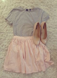 Striped top, blush skirt, nude pumps.