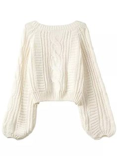 Puff Sleeve Cable Knit Sweater -SheIn(abaday)