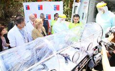 Cabina de aislamiento que será utilizada por el SAMU en caso de presentarse la necesidad de trasladar a un paciente sospechoso de Ébola.