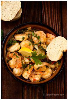 We love this Spanish tapas dish with chilies and LOTS of garlic: Gambas al Ajillo.