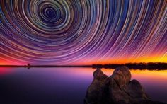 extremely long exposure. its a time lapse photo of the stars appearing to revolve around Polaris