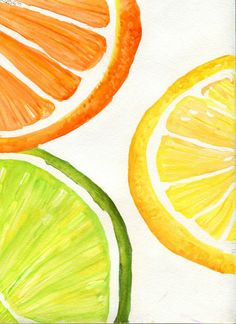 Tutti Frutti Orange Lemon Lime slices by SharonFosterArt on Etsy Lemon Painting, Large Painting, Acrylic Painting Canvas, Watercolor Paintings, Orange Wallpaper, Summer Wallpaper, Easy Paintings, Original Paintings, Canvas Paintings