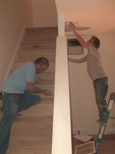Family Partner, Armando Vargas and Volunteer, Maggy Machado work on opposite sides of the staircase wall at the Bragg Lane Rehab that Armando will purchase through our home ownership program. Habitat For Humanity, Home Ownership, Habitats, Restoration, Wall, House, Haus, Home, Homes