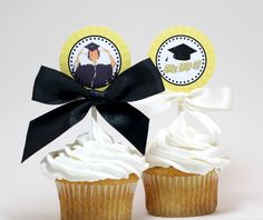 Printable Graduation Cupcake Toppers - She Did It!
