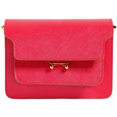 Marni Women Mini Trunk Saffiano Leather Bag (32.380 ARS) ❤ liked on Polyvore featuring bags, handbags, shoulder bags, red, shoulder strap bags, red purse, miniature purse, mini purse and saffiano leather purse