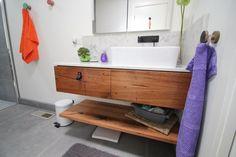 Recycled Hardwood timber Vanity & floating shelf Timber Vanity, Timber Furniture, Floating Shelves, Hardwood, Recycling, Bathtub, Deco, Bathrooms, Shelf