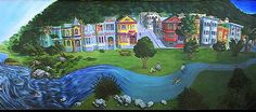 The Duboce Bikeway Mural is a fantastical depiction of the The Wiggle's (the meandering one-mile route from Duboce Ave to Fell St. that saves cyclists from notoriously steep hills as they make their way from downtown to western neighborhoods) natural history. This image is a crop, but the mural itself stretches 380 feet and runs along a bike path behind the Safeway off Duboce Ave. in San Francisco.