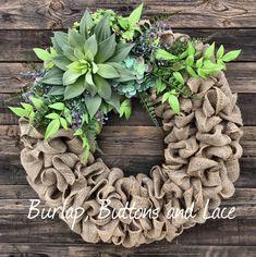 Succulents on a Burlap Wreath